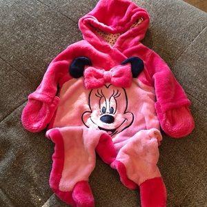 DISNEY Minnie Mouse fleecy pink onesie 0/3 mth
